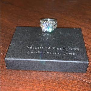 Silpada CZ sterling silver filigree ring